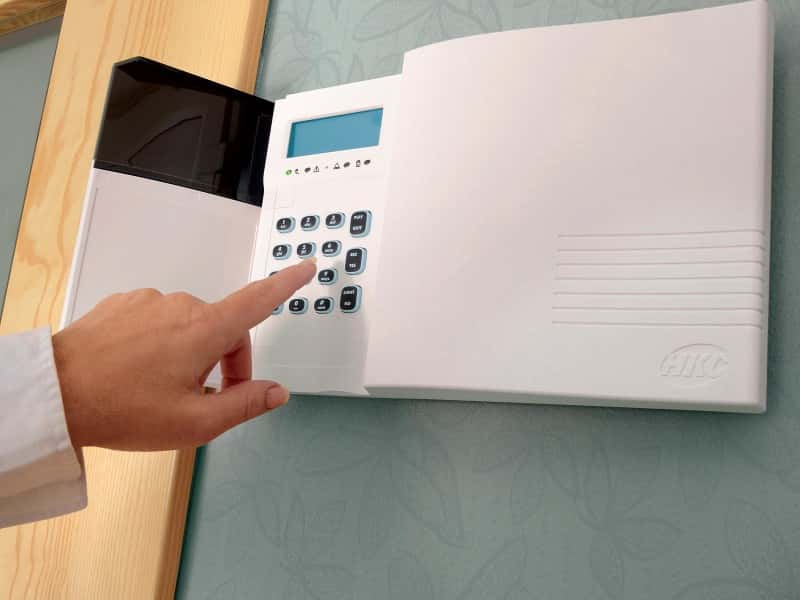 An image showing HKC Burglar Alarm security systems on a Wall in Bedford