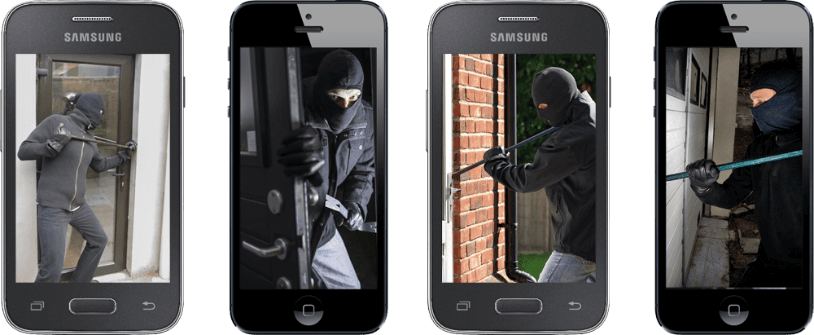 an image of a mobile phone showing recordings of a burglar breaking into a home.