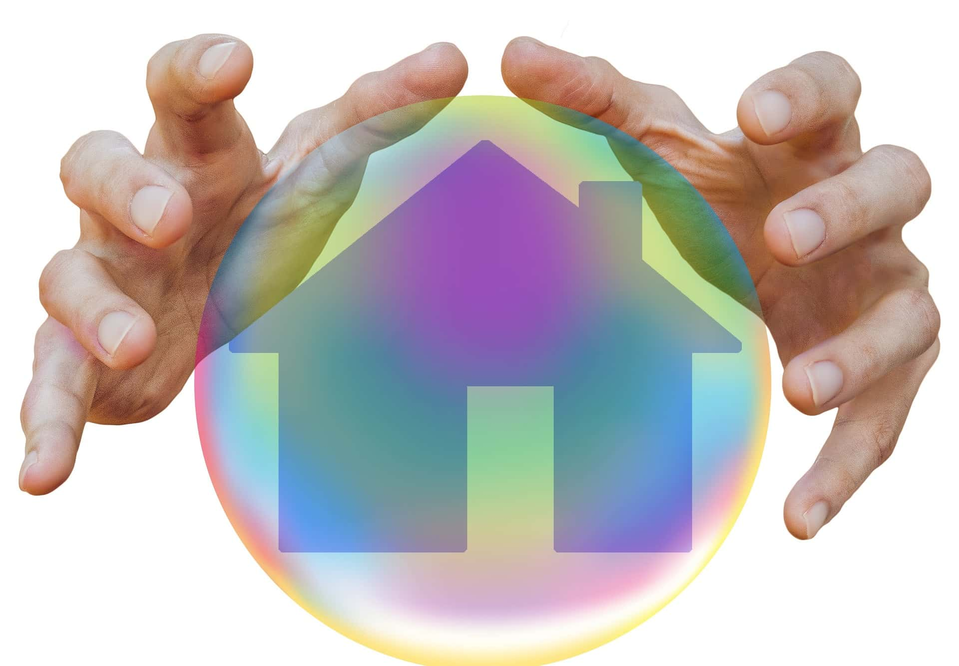 An image showing the silhouette of a house inside a bubble with hands protecting the house.