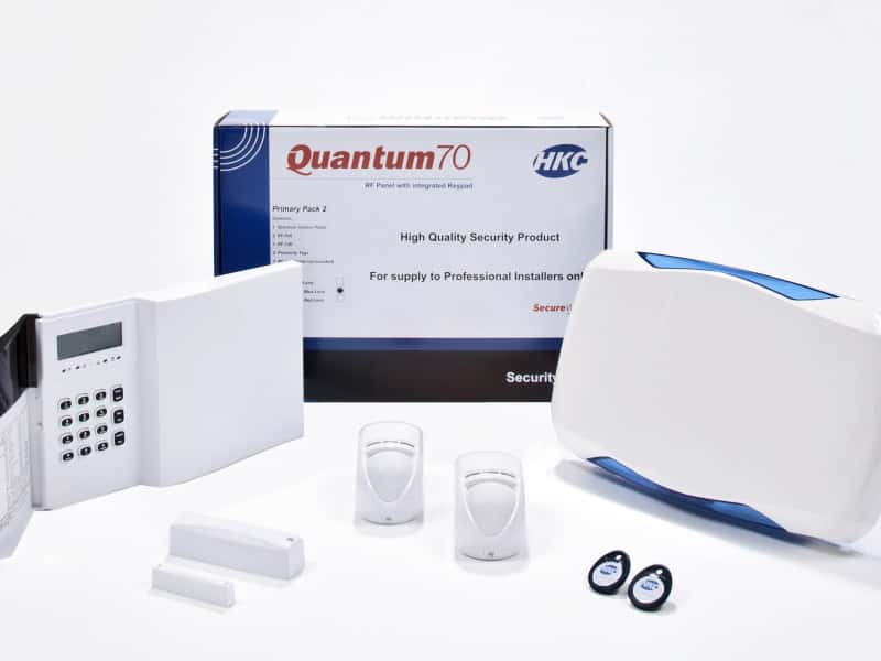 An image showing a Quantum Security System pack on a white surface that can be installed by Assegai Security Systems